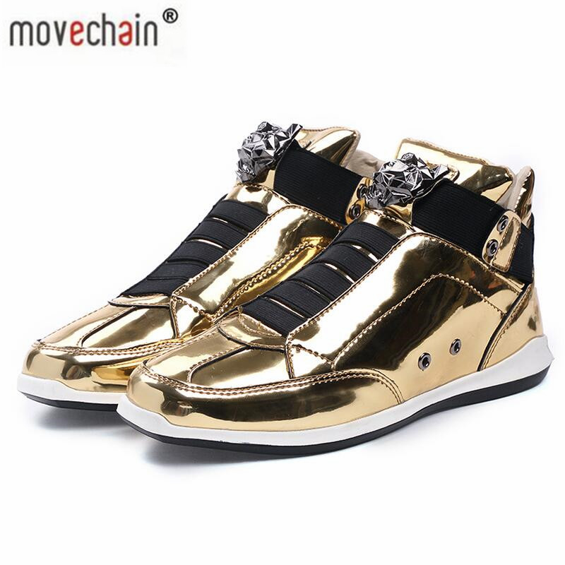 Movechain Men's Casual Leather Shoes Men Patent Leather Skate Shoes Fashion Mens Designer Trendy High-Top Flats Men Casual Shoes