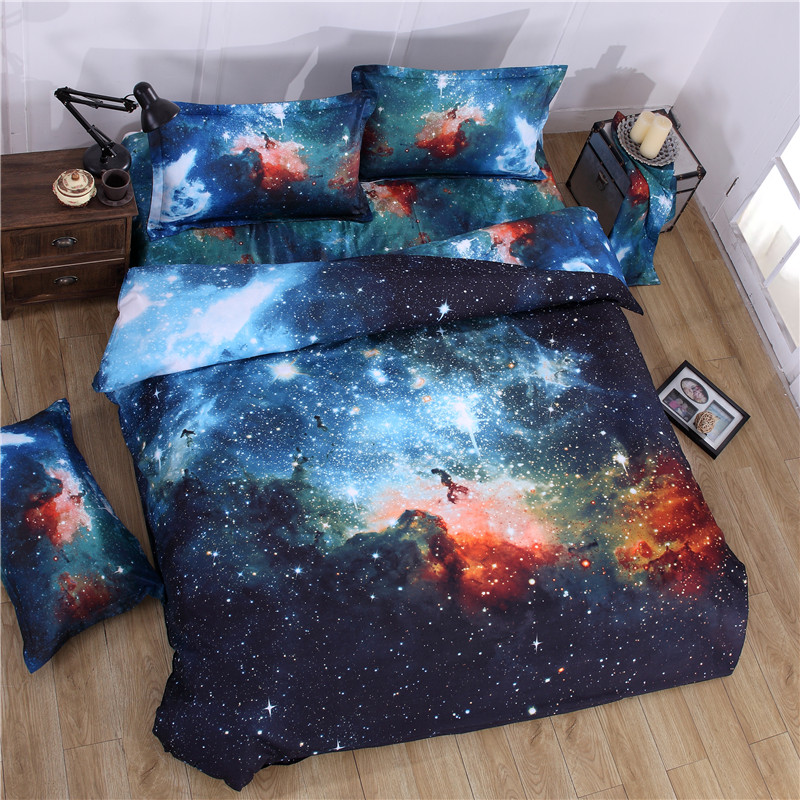 iDouillet 3D Nebala Outer Space Star Galaxy Bedding Set 2/3/4 pcs Duvet Cover Flat Sheet Pillowcase Queen Twin Size