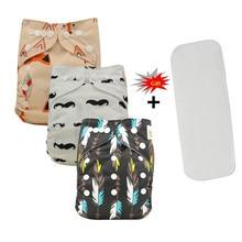 3pcs/set Baby Cloth Diapers Reusable Diaper Cover Pocket Diaper+A Microfiber Insert Infant Nappies