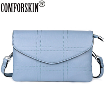 COMFORSKIN Bolsas Feminina Premium Cowhide Leather Plaid Style Messenger Bags New Arrivals Envelope Ladies Cross-body Sales