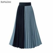 KoHuiJoo Women Midi Pleated Skirt High Waist Patchwork Chiffon Skirts Plus Size Loose A Line Streetwear
