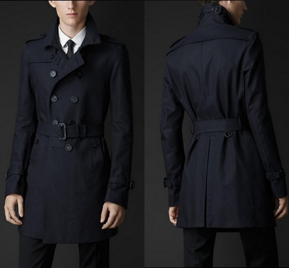 Slim black trench coat