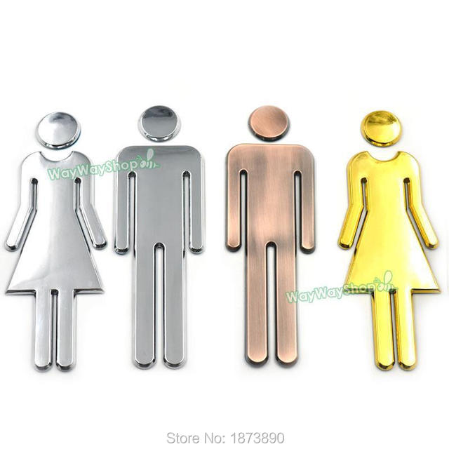 One Set Men Women Restroom Sign Bathroom Acrylic Modern Adhesive Unise  Toilet Gender 3 Colors 200mm