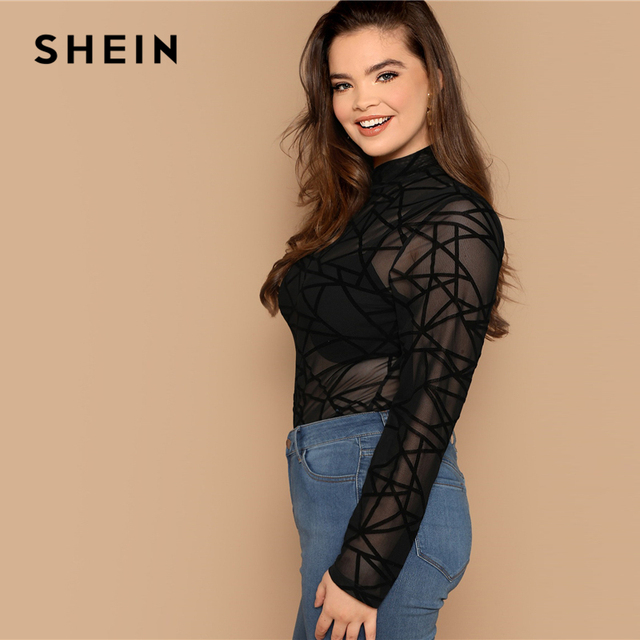 SHEIN Plus Size Sexy Black Mock-neck Geo Mesh Blouse Without Bra Women Sheer Slim Fit Top Spring Long Sleeve Casual Plus Blouses 1