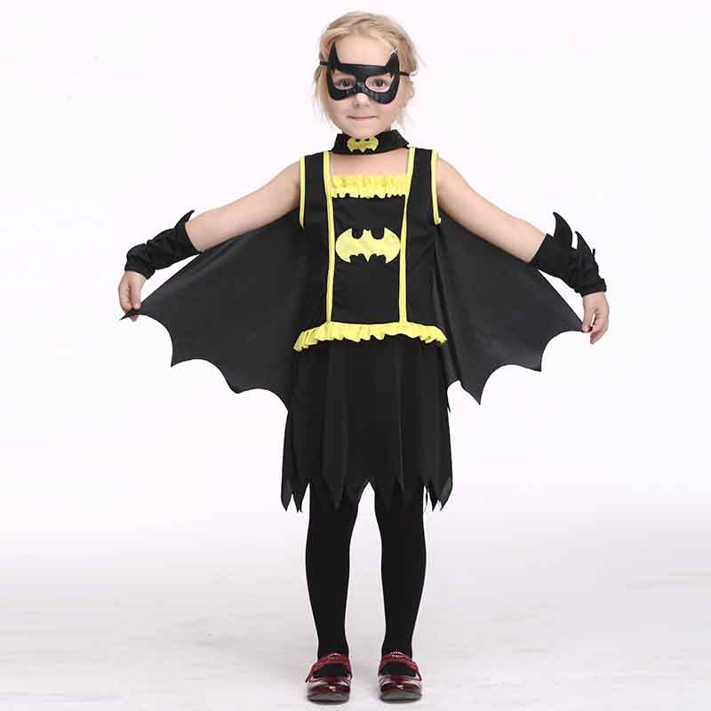 New Halloween Costumes for Kids Batman Fancy Dress Cosplay Cute Bat Costume Girls Kids Stage Performance Clothes Batman Clothes superhero halloween costume for girls cosplay performance dance show fancy costumes girls clothing children suit dress for girl