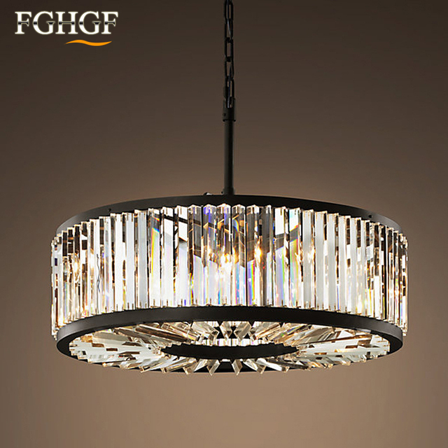 Modern Crystal Chandelier Light Creative Hollow Round Lamp Circle Fixture Vintage Style Res For Living