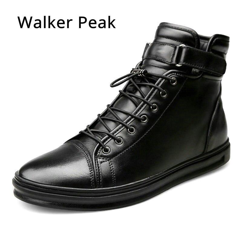Nuevos Mens Casual zapatos de cuero genuino de alta top zapatos de invierno encaje hasta tobillo botas de invierno de hombres calzado caliente walker pico