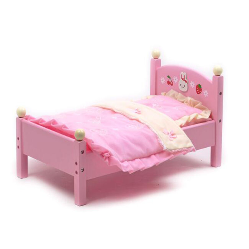 big pretend wooden doll bed for girls's stuffed plush toys Pet with pillow and quilt wooden bed play for children birthday gift free shipping christmas birthday gift toys children play set sofa 2 pillow bed doll accessories for blythe licca sd barbie b j d