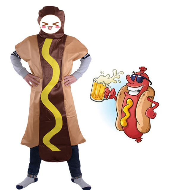 Men's Hot dog Jumpsuit Costume Food Role Play Carnival Party Funny Cosplay Hot dog Costumes 34