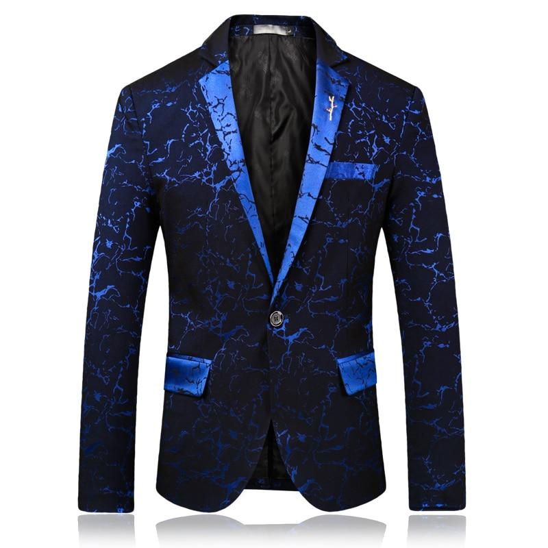 2019 Men's Blazers Spring And Autumn Fashion Gilding Print Suit Jacket / Slim High-end Banquet Gradient Color  Male Suit Coat