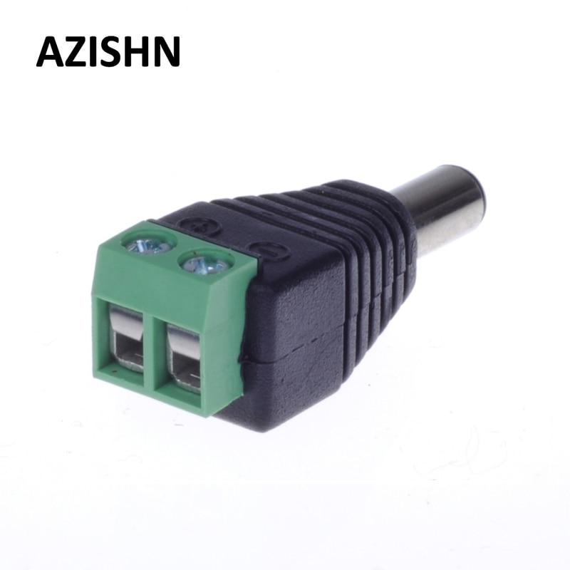AZISHN 100PCS/LOT 2.1mm X 5.5mm Female Male DC Power Plug Adapter For CCTV CAMERA