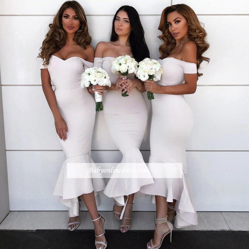 African Arabic Ivory Off The Shoulder High Low   Bridesmaid     Dresses   2019 Sexy Sweetheart Maid Of Honor Gowns Party Guest   Dress