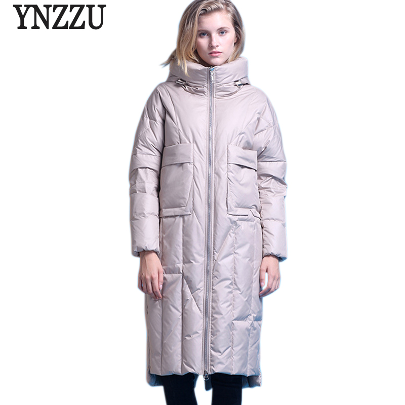 YNZZU Elegant Women's   Down   Jacket 2018 Winter Brief 90% White Duck   Down     Coat   Women Warm Hood Loose OL Outwear High Quality O718