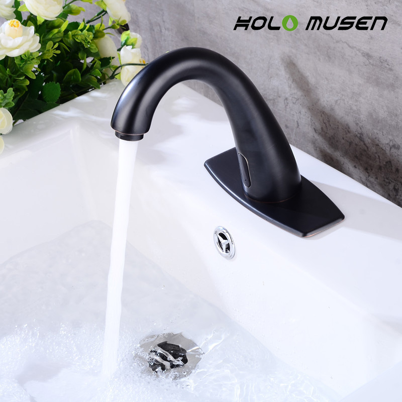 Battery Power Touchless Water Saving Infrared Sensor Faucet Hygeian Bronze & Black Automatic Faucet Sensor Tap