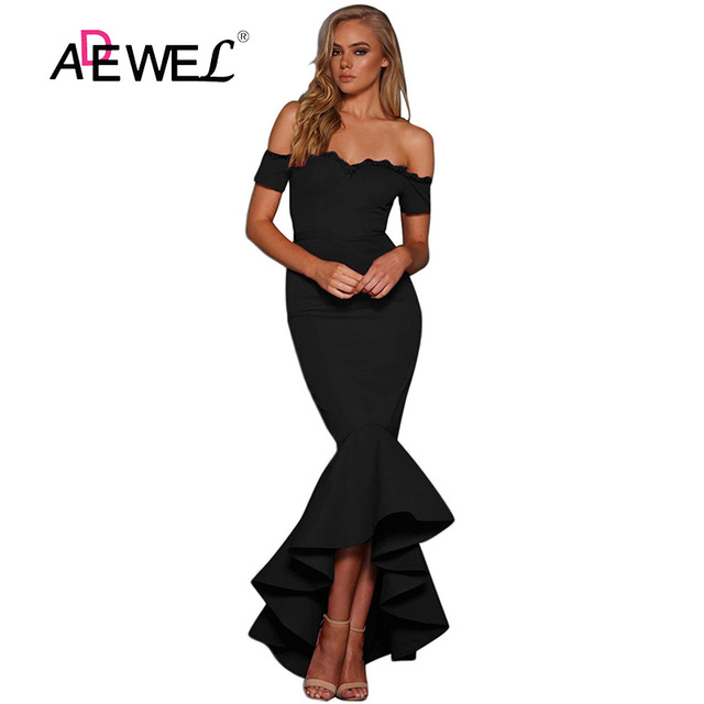 7a829df8458 ADEWEL Sexy Black Lace Off Shoulder Mermaid Party Maxi Dress Women Formal Short  Sleeve Bodycon Evening Gowns Long Dress Vestidos
