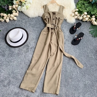 2019 new fashion women's rompers single breasted pocket waist tie jumpsuits