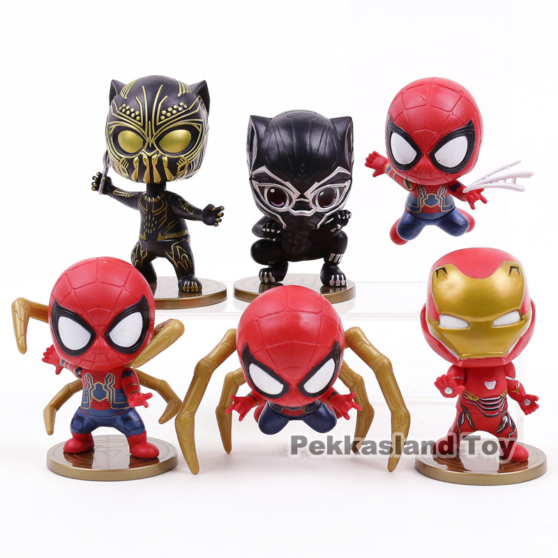 Action & Toy Figures Forceful Avengers Infinity War Iron Man Spiderman Iron Spider Black Panther Pvc Figures Toys 6pcs/set