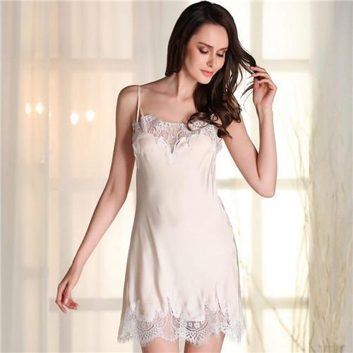 2017 Sexy Vestido Casa Salão Sono Nightgowns Rendas Mulheres Camisola De Seda V Profundo Tentação Sleepwear Vindima Camisão