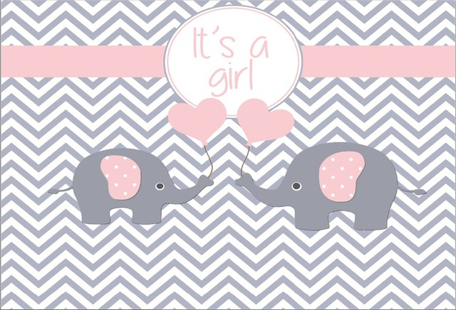 Superior Grey Gray Chevron Wall Pink Elephant Girl Baby Shower Backgrounds Vinyl  Cloth High Quality Computer Print