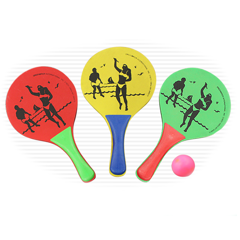 3 Color Beach Ball Rackets Wooden Set Of 2 Paddles And Ball Adult Sand Team Games Toys Tennis/ Badminton/Pingpong Racket Paddles