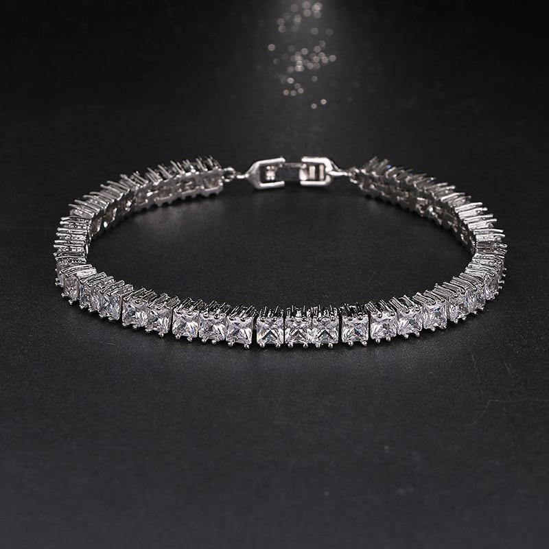 Emmaya Warna Emas Putih Gelang untuk Wanita Wanita Bersinar 4mm Persegi AAA Cubic Zircon Kristal Perhiasan Hadiah Ulang Tahun