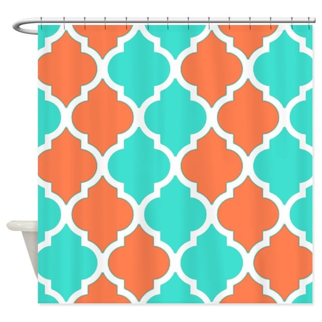 Coral Orange And Turquoise Quatrefoil Pattern Show