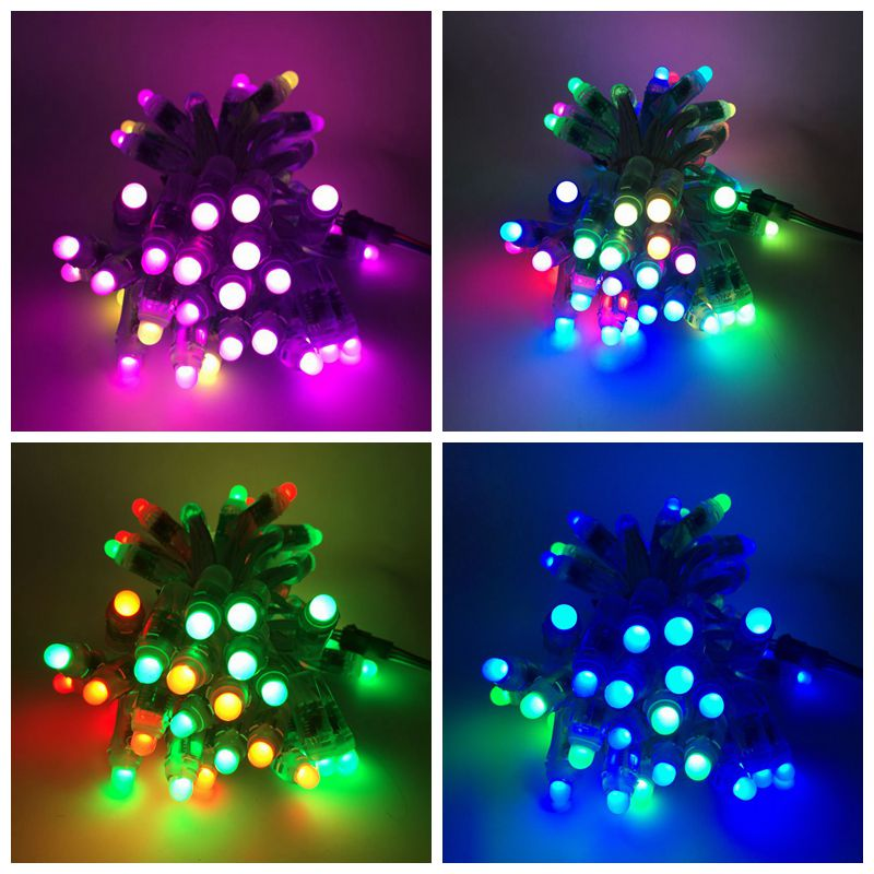 50pcs/lot DC5V WS2811 LED Pixel Module,Black/Green/White/RGW Wire String Lights Christmas Holiday,Addressable,IP68 Waterproof