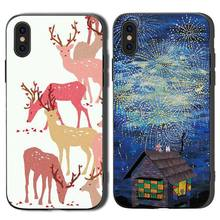 Cartoon Deer Cat Phone Cases Cover for iphone X XR XS MAX 6 6s 7 8 Plus TPU Coque For 8Plus 5SE