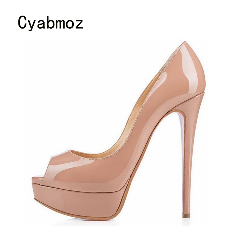 Cyabmoz Women Platform Shoes Woman Thin High Heels Pumps Peep Toe Zapatos Mujer Tenis Feminino Party Wedding Shoes Plus Size 46 apoepo brand 2017 zapatos mujer black and red shoes women peep toe pumps sexy high heels shoes women s platform pumps size 43