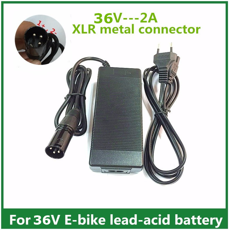 36V 2A lead-acid battery Charger <font><b>electric</b></font> scooter e <font><b>bike</b></font> charger wheelchair charger with XLR metal connector
