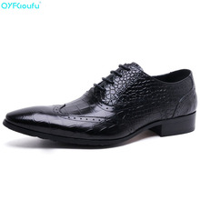 New Arrival Luxury Italian Men Brogue Dress Shoes Formal Business Oxfords Shoes Pointed Toe Genuine Leather Flats