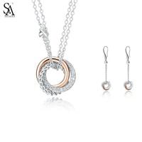 SA SILVERAGE 925 стерлингов Серебряные комплекты ювелирных изделий CZ Кристалл падение серьги длинные ожерелья подвески для Для женщин Fine jewelry