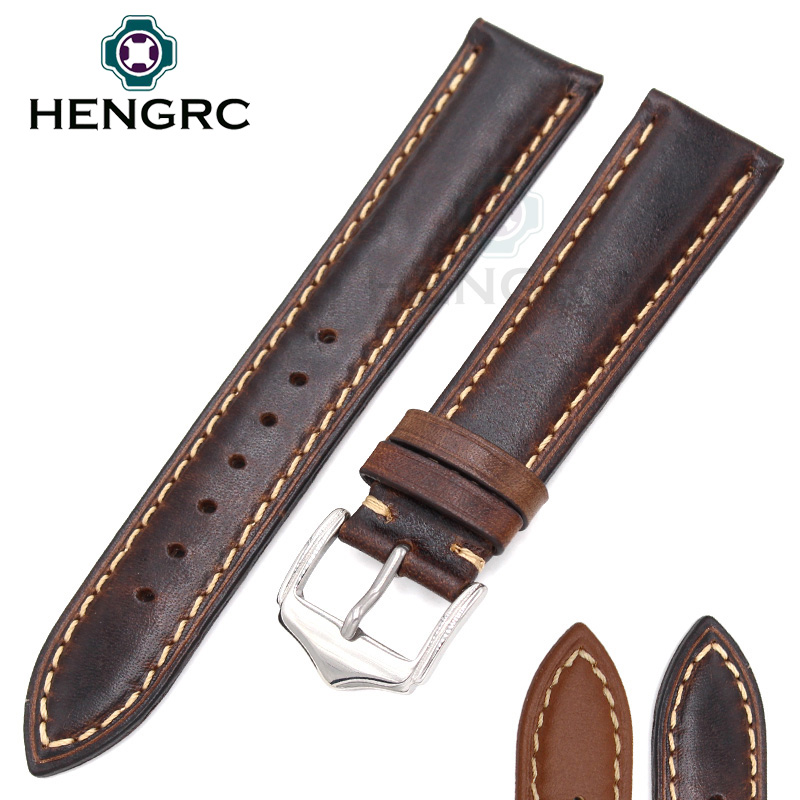 Wholesale 10pcs/set Watchbands  Retro Genuine Leather Brown Men 20 22 24mm Soft Watch Band Strap Metal Pin Buckle Accessories handmade retro genuine leather watchbands for panerai 22mm 24mm men watch band strap metal buckle relogio accessories wristband