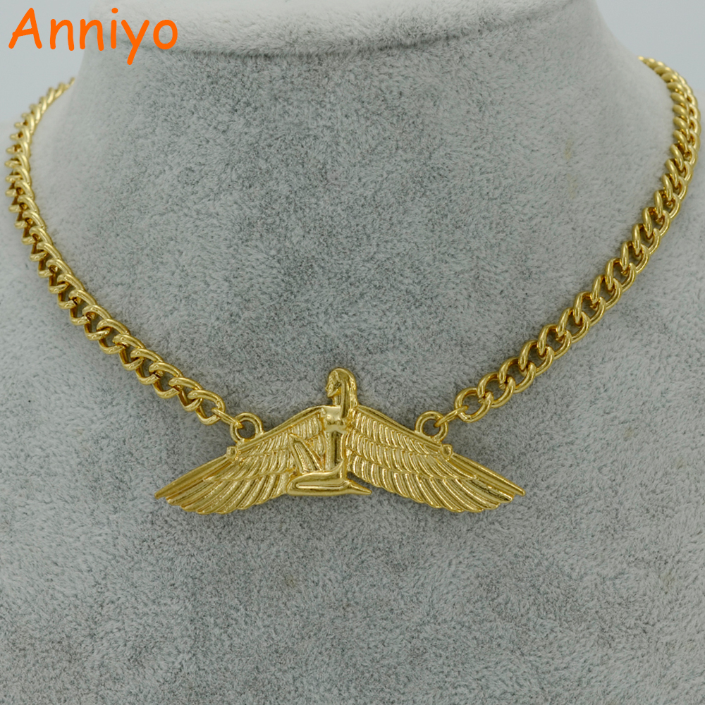 Anniyo 53cm Fab Egyptian Goddess Necklaces Gold Color Wing Necklace Ankh Bib Wicca Pagan Jewelry Egypt Religion #019606 anniyo egyptian queen nefertiti pendant