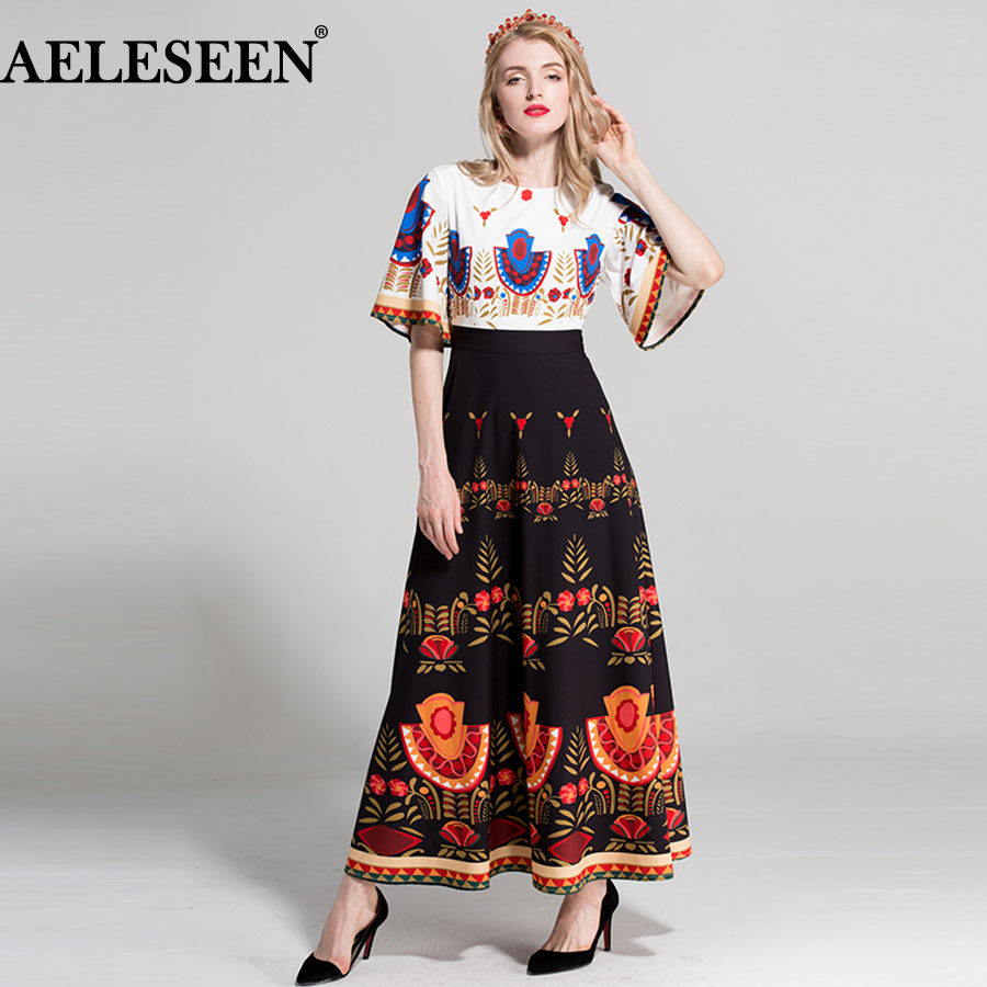 AELESEEN Vintage High Quality Patchwork Women Dresses 2018 European Flare Sleeve Summer Print Dress Ruffles Fashion Luxury Dress