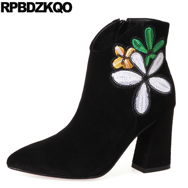 Fall Ankle Booties Embroidered Luxury Brand Shoes font b Women b font font b Black b