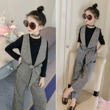 Teenage Girls Clothing Sets Autumn Plaid Vest + T-shirts + Pants 3pcs Suit for Girls Clothes Fashion Kids Costume 12 14 Year T 2018 teenage girls fashion clothing sets 2 pcs t shirts jumpsuits overalls sports suit roupas infantis menina 8 10 12 14 year