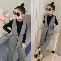 Teenage Girls Clothing Sets Autumn Plaid Vest + T shirts + Pants 3pcs Suit for Girls Clothes Fashion Kids Costume 12 14 Year T