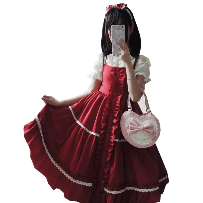 2018 été grande dentelle gothique jsk harnais robe Lolita robes vertes
