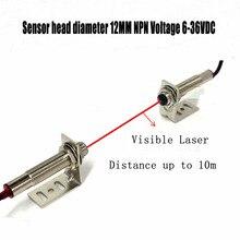 1 paar M12 NPN laser sensor schalter sichtbar licht Laser strahl lichtschranke sensor Hohe Präzision Schalter Sensor mit Stand