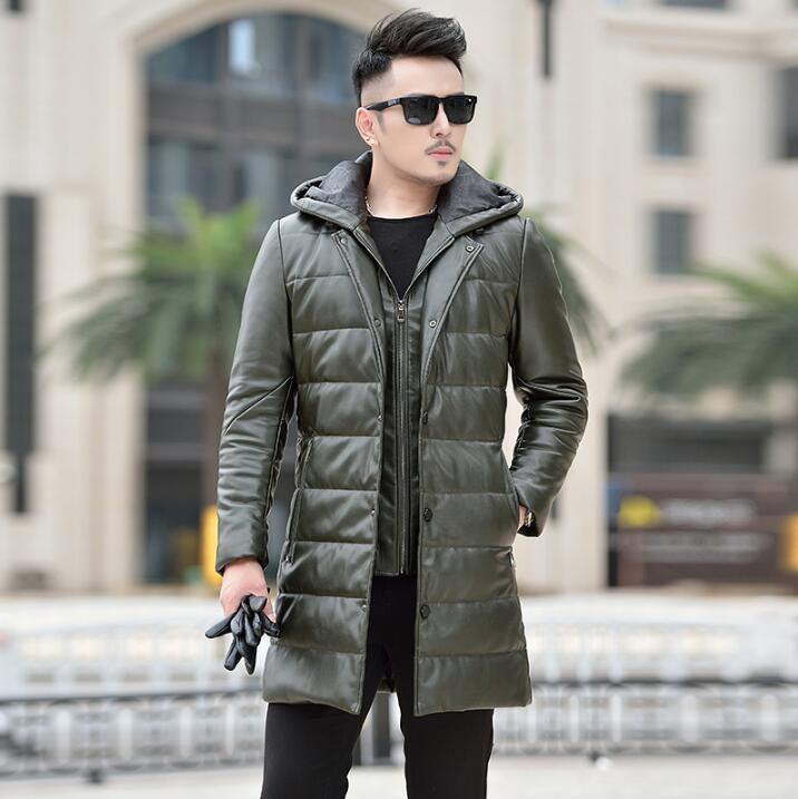 Горячая зима новая мужская брендовая кожаная одежда мужской пуховик длинный тонкий съемный капюшон толстые пальто корейское пальто с мехо... - 2