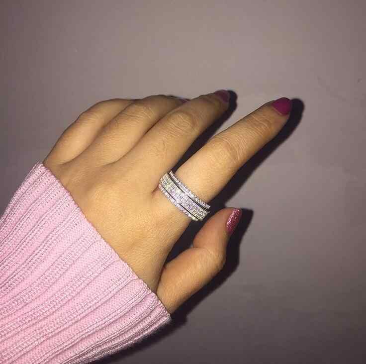 קלאסי תכשיטים מדהים 925 כסף מלא 5A לבן Cz ZIRCONIA מסיבת Rotatable חתונה גברת להקת טבעת מתנה