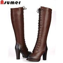 MEMUNIA 2016 New winter fashion pu+genuine leather boots high heels women's knee high boots sheepskin motorcycle boots