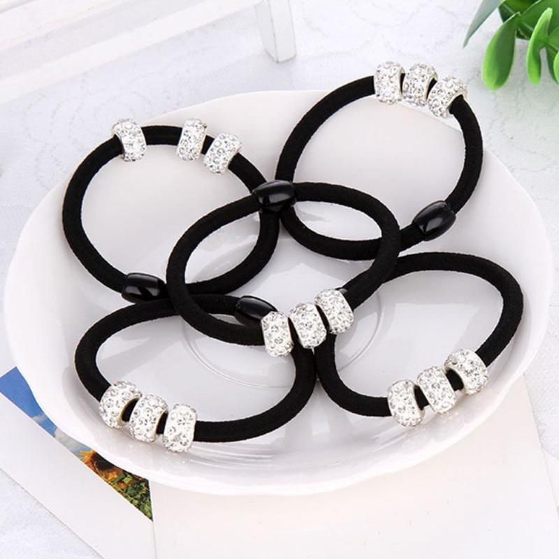 Korean Three Full Crystal Hair Accessories For Women Black Elastic Hair Rubber Bands Girls Lovely Hair Ropes Ponytail Holder Tie