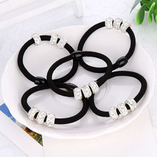 Korean Three Full Crystal Hair Accessories For Women Black Elastic Hair Rubber Bands Girls Lovely Hair Ropes Ponytail Holder Tie(China)