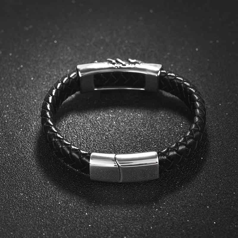 OBSEDE Punk Scorpion Braccialetto di Cuoio Degli Uomini casual Corda Intrecciata Braccialetto In Acciaio Inossidabile Magnetico Chiusura WristBand Dei Monili di Sesso Maschile Regali