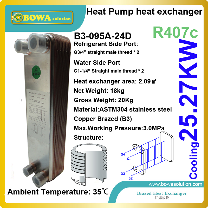 10HP R407c to water ASTM304 evaporator (stainless steel plate heat exchanger) installed in water source or heat recycle systems 21kw heating capacity r410a to water heat exchanger used in water source heat pump floor heating or other hydronic systems