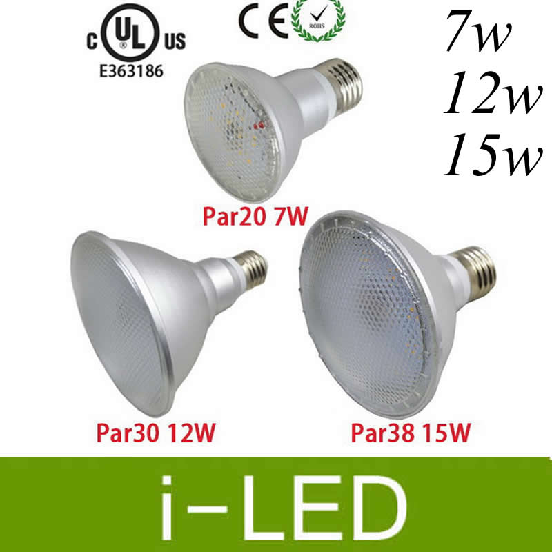 High Brightness Par20 Par30 Par38 Led Spotlight Lamp 7w 12w 15w E27 E26 Dimmable Spot Bulb Waterproof Ip65 Ac85 265v