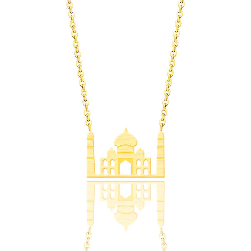 Gold Color Handmade Movie House Old Castle Necklace Women Princess Inspired Stainless Steel MAMA Children Family Lover Best Gift