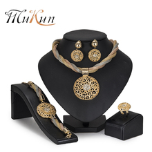 MuKun Jewelry Set For Women African Beads Wedding Twist Weave Choker Necklace Bridal Dubai Ethiopian Jewellery Sets